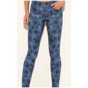 Guess Brittney Skinny Ankle Sunflower Print Jeans